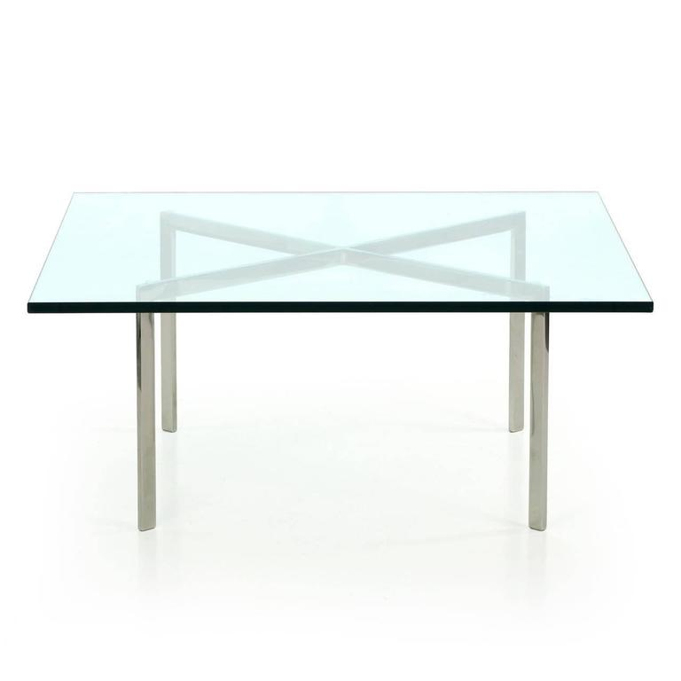 Signed barcelona chrome and glass coffee table by mies van der rohe for knoll - Barcelona table knoll ...
