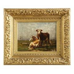 John Carleton Wiggins Antique Barbizon Landscape Painting of Cows, circa 1888