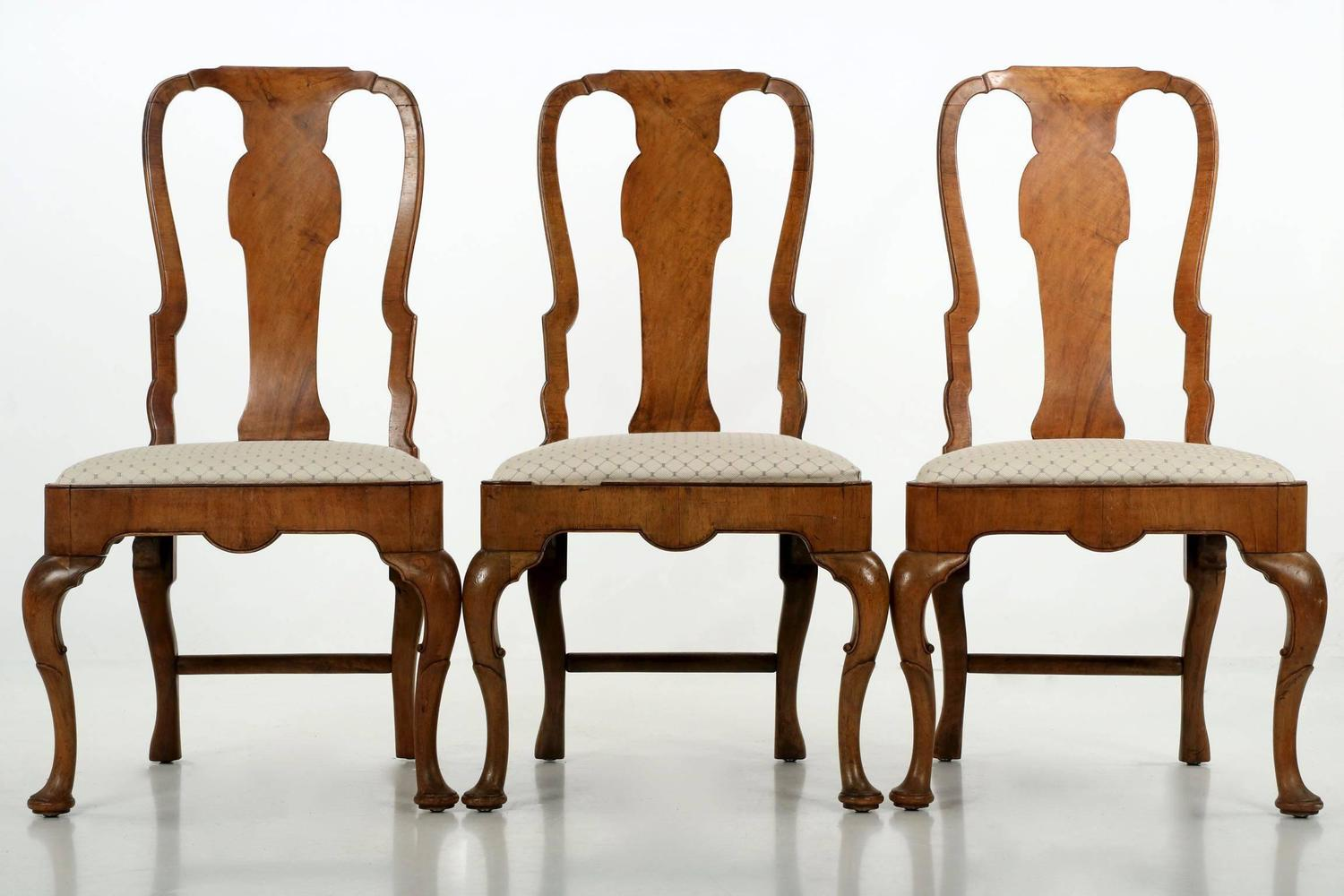 of eight queen anne style burl walnut antique dining chairs at 1stdibs