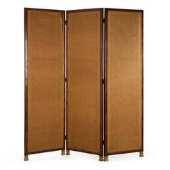 Large English Regency Style Mahogany and Burlap Room Divider Screen