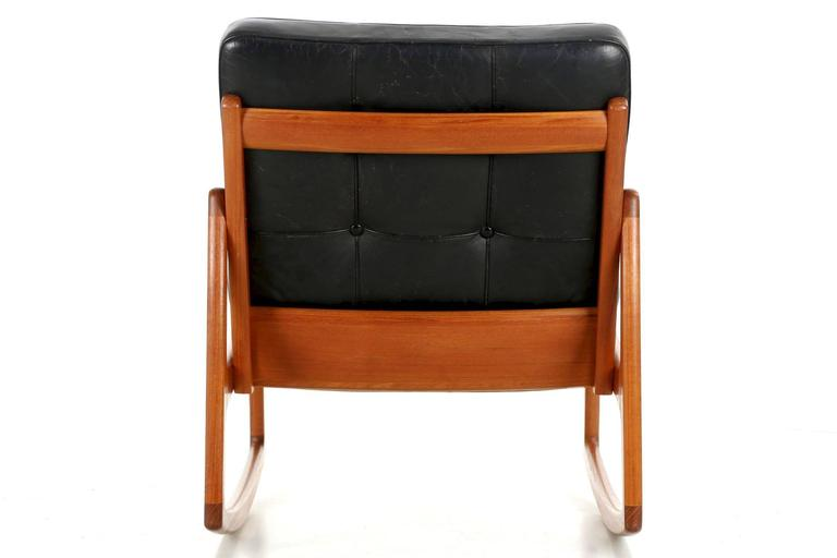 Mid Century Modern Danish Modern Sculpted Teak And Leather Rocking Chair By  Ole Wanscher For