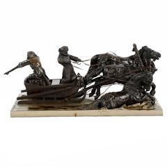 """Authentic Albert Moritz-Wolf, Bronze Sculpture """"Huntsmen"""""""
