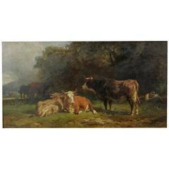 "Friedrich Johann Voltz Antique Painting ""Cattle and Cowherd Resting,"" circa 1879"