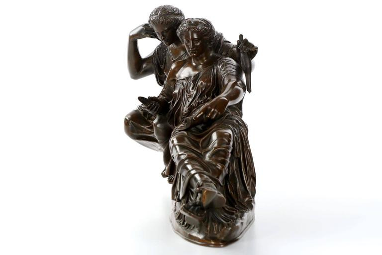A bronze sculpture with a graceful presence and of excellent quality, the work is based on the original sculpture in the east pediment of the Parthenon by Athenian sculptor Phidias, while Clésinger filled in the missing extremities of the scene for