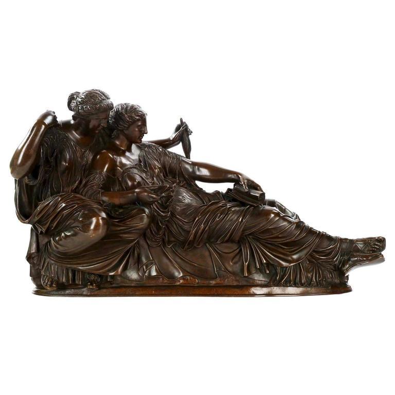 """Two Fates"" Bronze Sculpture by Jean-Baptiste CléSinger, Barbedienne"