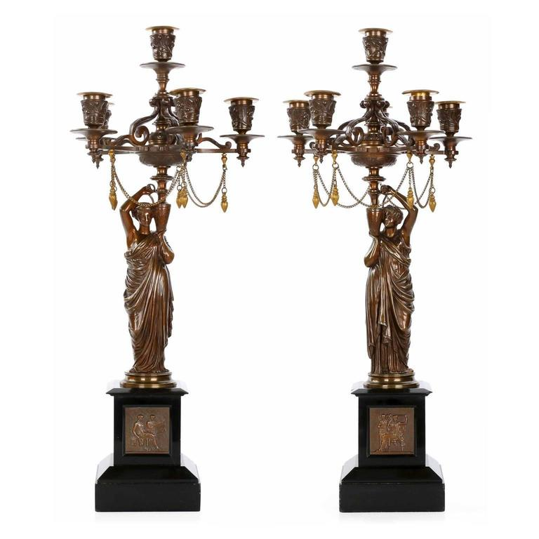 Pair of French Napoleon III Bronze Figural Candelabra by Charles Ferrat, c. 1870