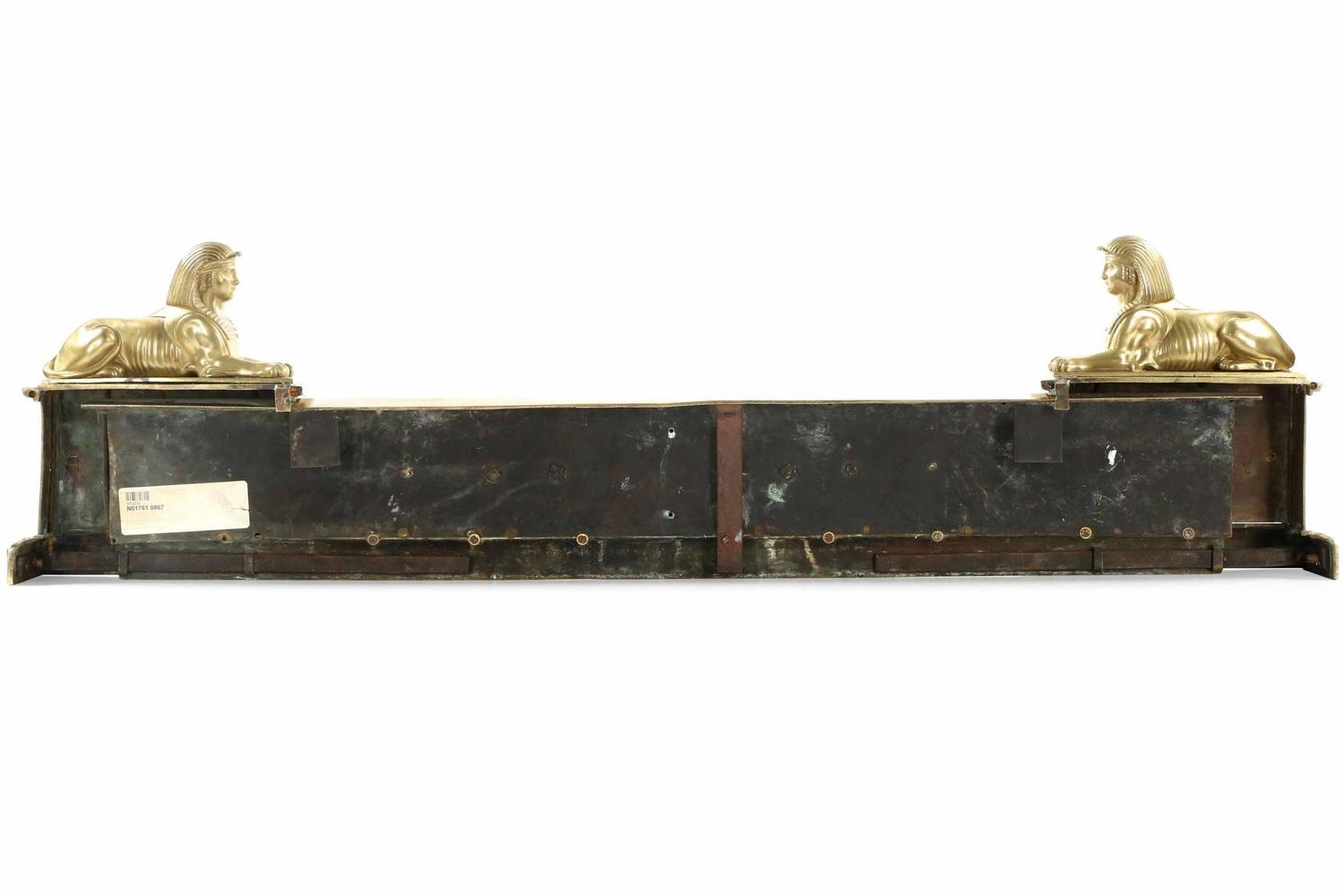 Regency Antique Brass Fire Fender With Flanking Egyptian Sphinx 19th Century For Sale At 1stdibs