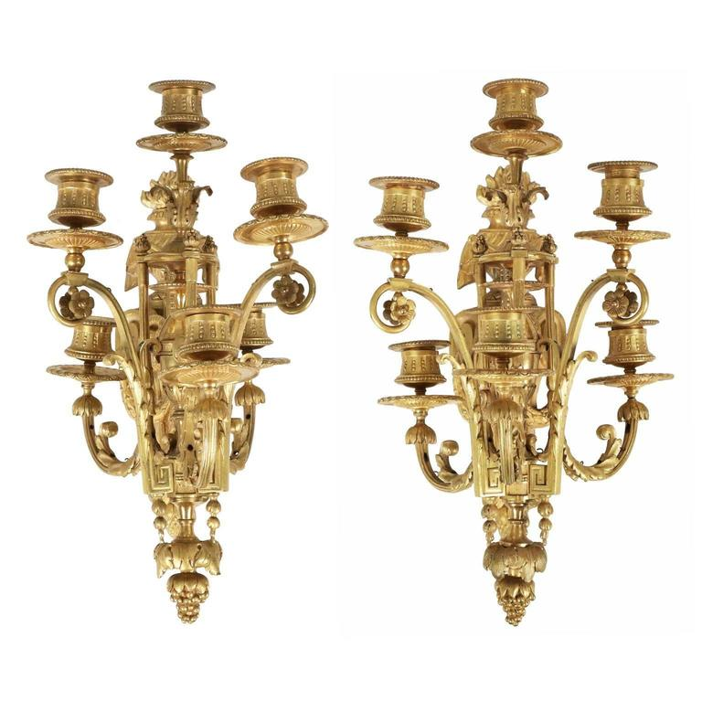 Vintage Bronze Wall Sconces : Pair of Louis XVI Style Bronze Antique Candelabra Wall Sconces, 19th Century For Sale at 1stdibs