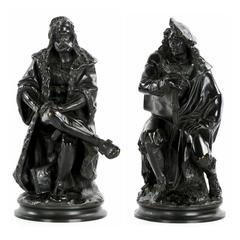 Pair of Bronze Sculptures of Rembrandt and Dürer by Albert Carrier-Belleuse