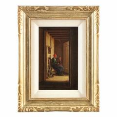 Small Antique Painting of Dutch Interior with Two Figures in Hallway, circa 1864