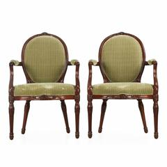 Fine Pair of George III Carved Mahogany Armchairs, Late 18th Century