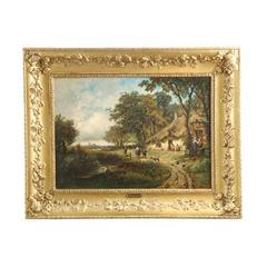 Barbizon School Antique Painting of Village Life, Signed Perret, 19th Century