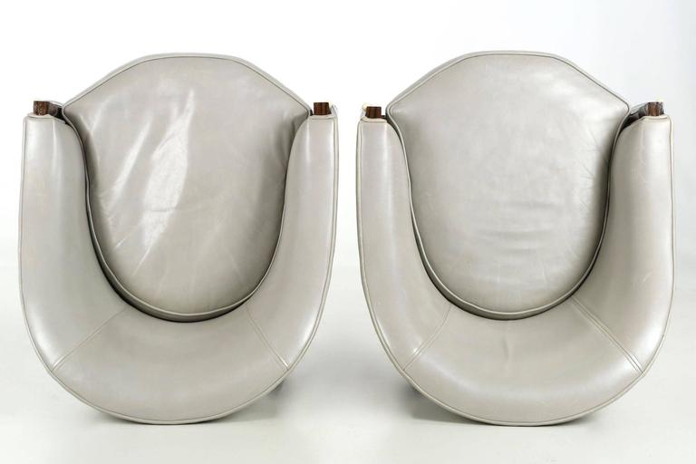 Fine Pair of Art Deco Style Macassar and Leather Lounge Chairs, Interior Crafts 5