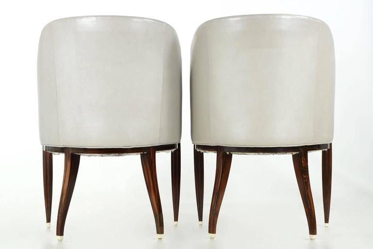 Fine Pair of Art Deco Style Macassar and Leather Lounge Chairs, Interior Crafts 3