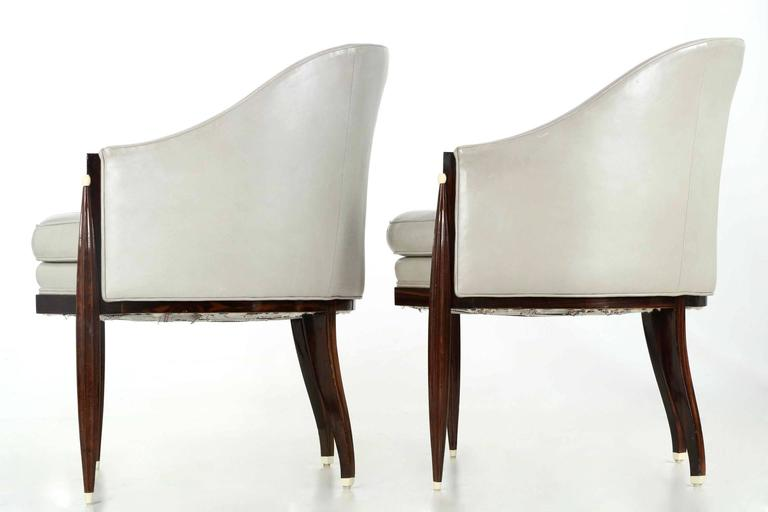 Fine Pair of Art Deco Style Macassar and Leather Lounge Chairs, Interior Crafts 4