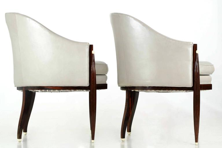 Fine Pair of Art Deco Style Macassar and Leather Lounge Chairs, Interior Crafts 2
