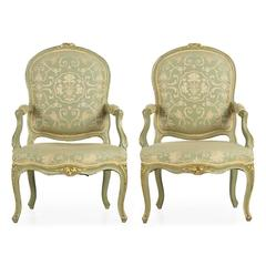 Pair of French Louis XV Style Green Painted Antique Armchairs, 19th Century