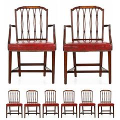 Set of Eight American Federal Style Mahogany and Birch Dining Chairs