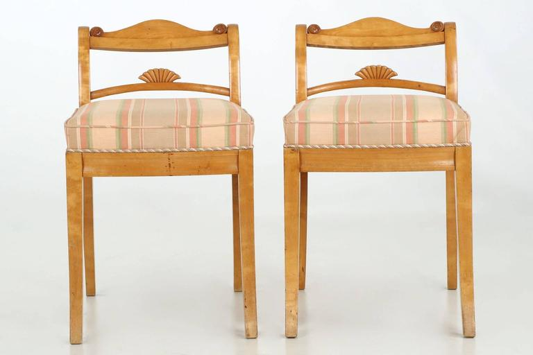 Pair Of Biedermeier Style Birch Low Back Antique Side Chairs, Early 20th  Century 2