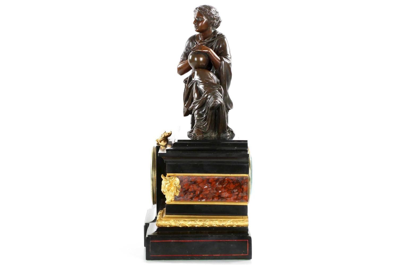 J E Caldwell Black Slate Mantel Clock Under Bronze