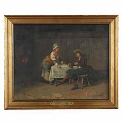 Camillio Innocenti 'Italian, 1871-1961' Antique Interior Tavern Painting, Signed