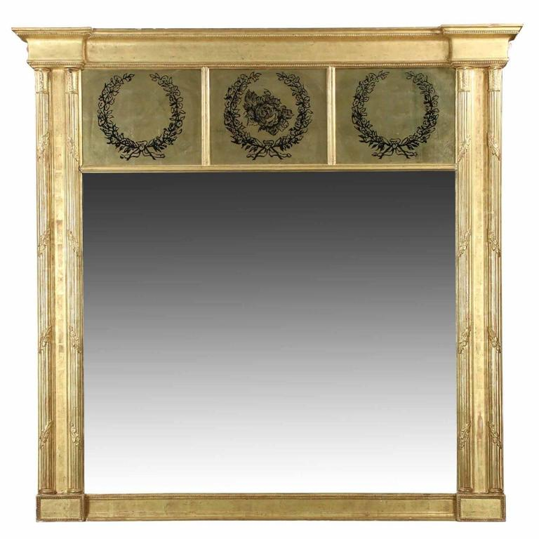 Mid Century Italian Etched Glass Over Mantel Mirror At