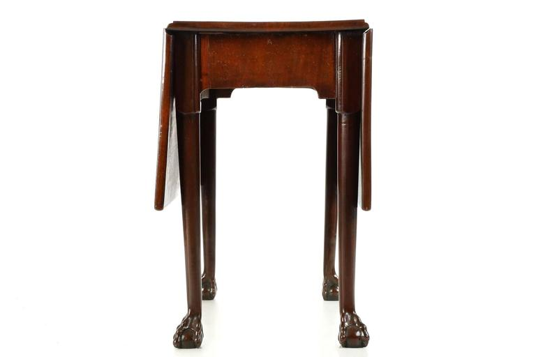 Hand Carved English Georgian Mahogany Ball And Claw Foot Drop Leaf Dining  Table For