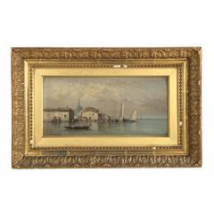 French Coastal Painting of Ships in Harbor by Lamois, 19th Century
