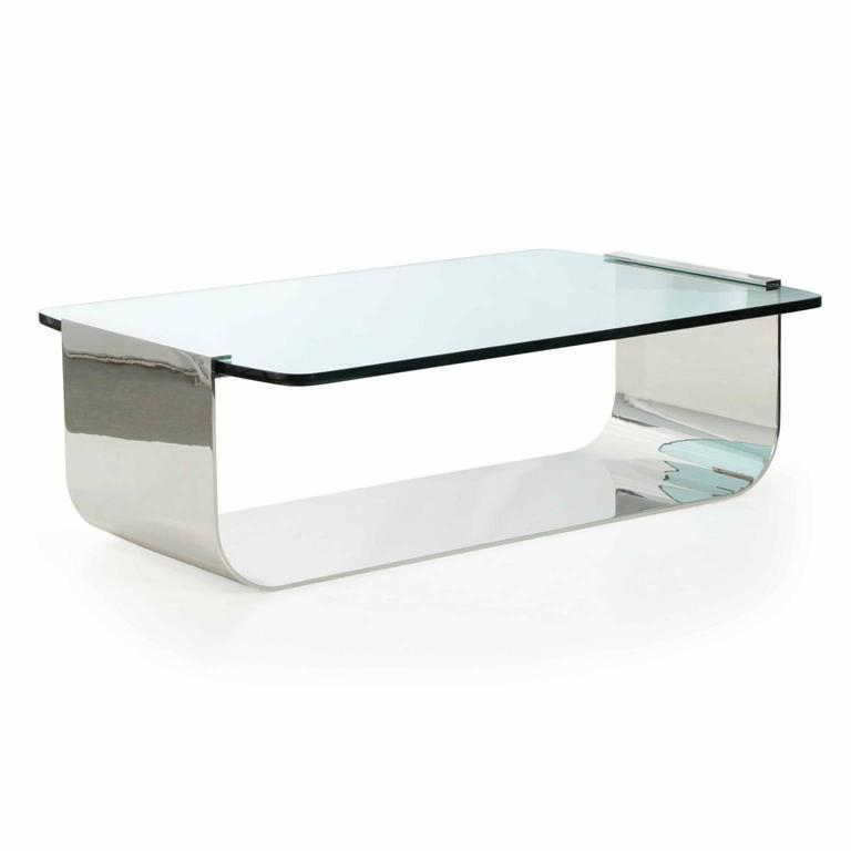 Modern Cantilever Glass Chromed Steel Cocktail Table For Sale At 1stdibs