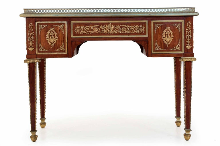 Fine French Neoclassical Rosewood And Bronze Leather