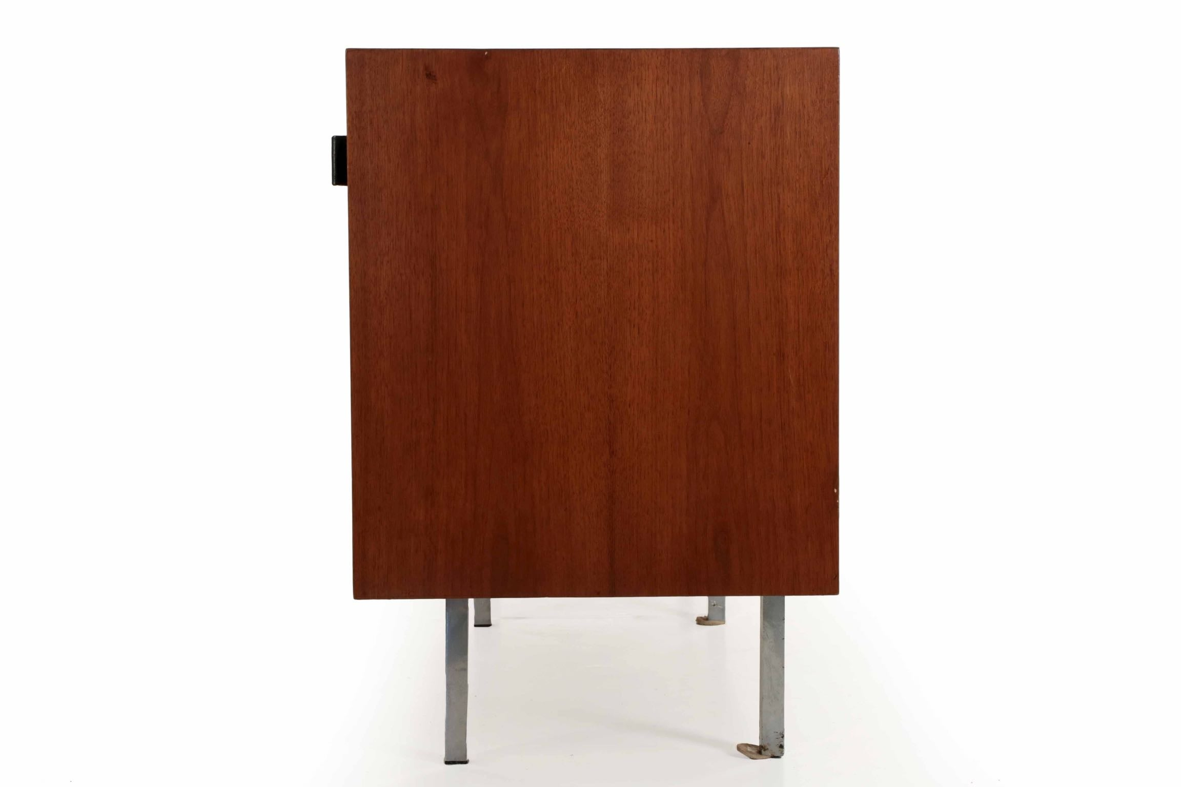 Florence Knoll Walnut And White Laminate Credenza Sideboard Cabinet, Circa