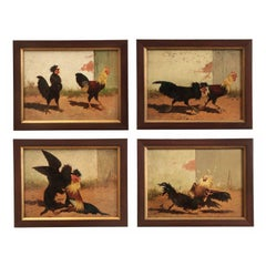 Four William Baird American, 1847-1899 Paintings of Cocks Fighting