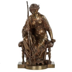 "19th Century Etienne Henri Dumaige French Bronze Sculpture of ""Seated Artemis"""