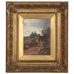 19th Century Barbizon School Antique Painting of Figure on Path, circa 1881