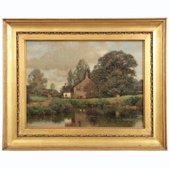 "Henry Pember Smith Landscape Painting ""Cottage by Lake"""