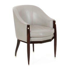 Art Deco Style Macassar and Leather Club Armchairs after Emile-Jacques Ruhlmann