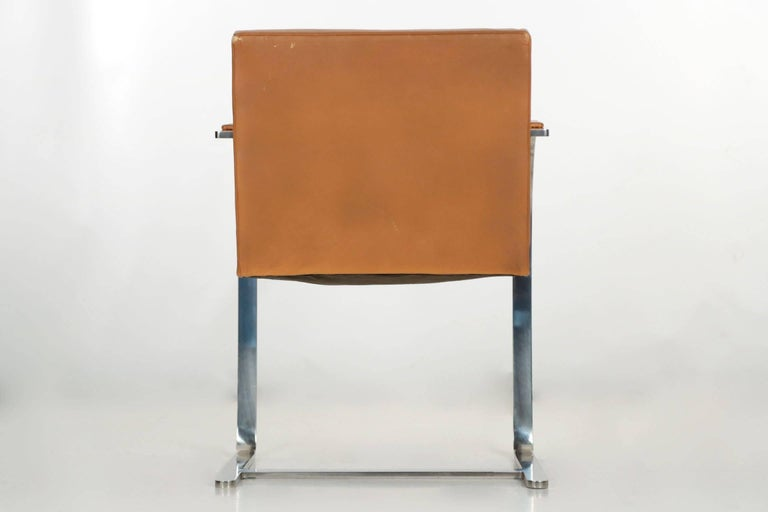 American Mies van der Rohe for Knoll Caramel Leather and Steel Brno Flat Armchair For Sale