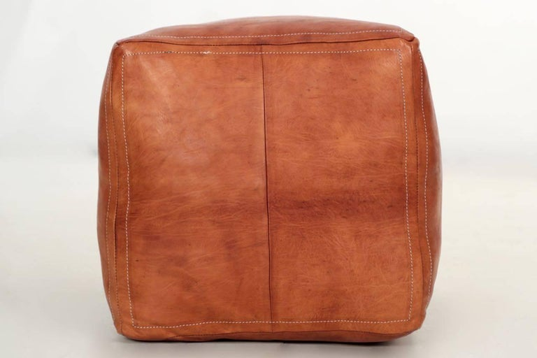 Stitched Caramel Leather Square Ottoman Pouf Footstool