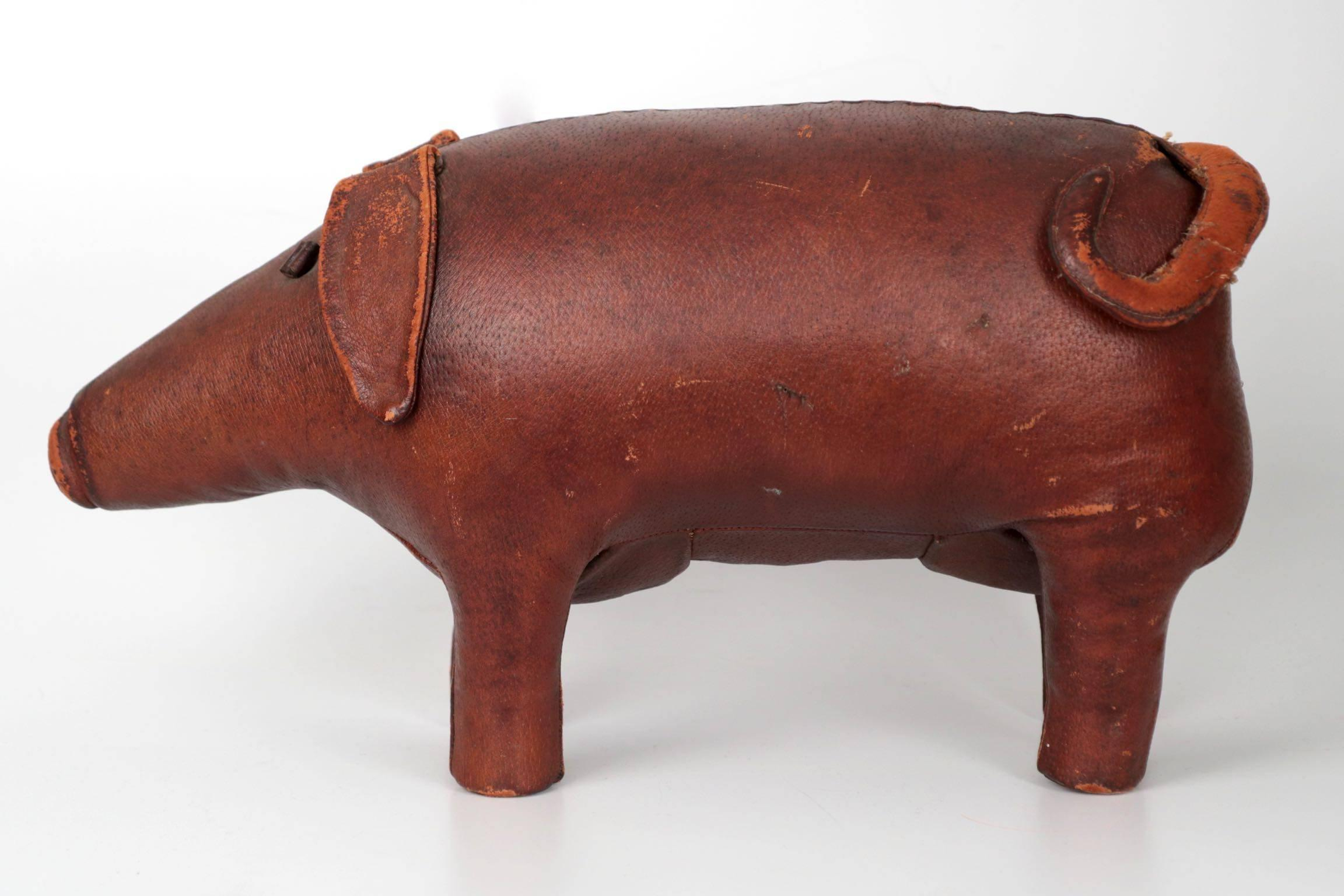 Merveilleux Stitched Leather Pig Footstool Ottoman By Dimitri Osmera For Abercrombie  And Fitch For Sale At 1stdibs