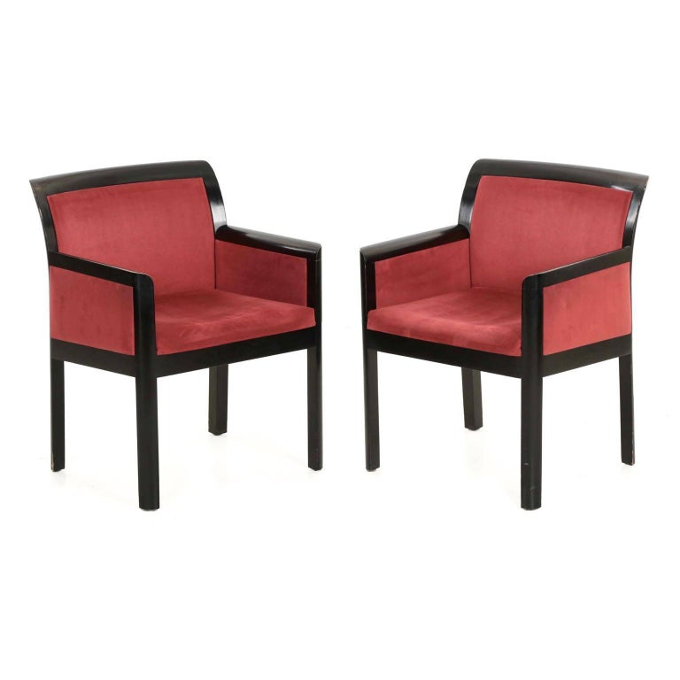 Pair of Black Ebonized and Maroon Micro-Suede Arm Chairs in the Art Deco taste