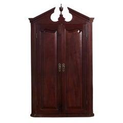 English Georgian Mahogany Broken-Arch Hanging Cupboard, Early 19th Century