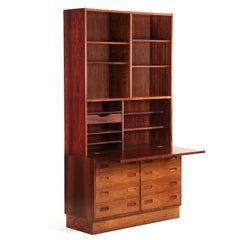 Danish Midcentury Rosewood Wall Unit Desk over Dresser by Poul Hundevad