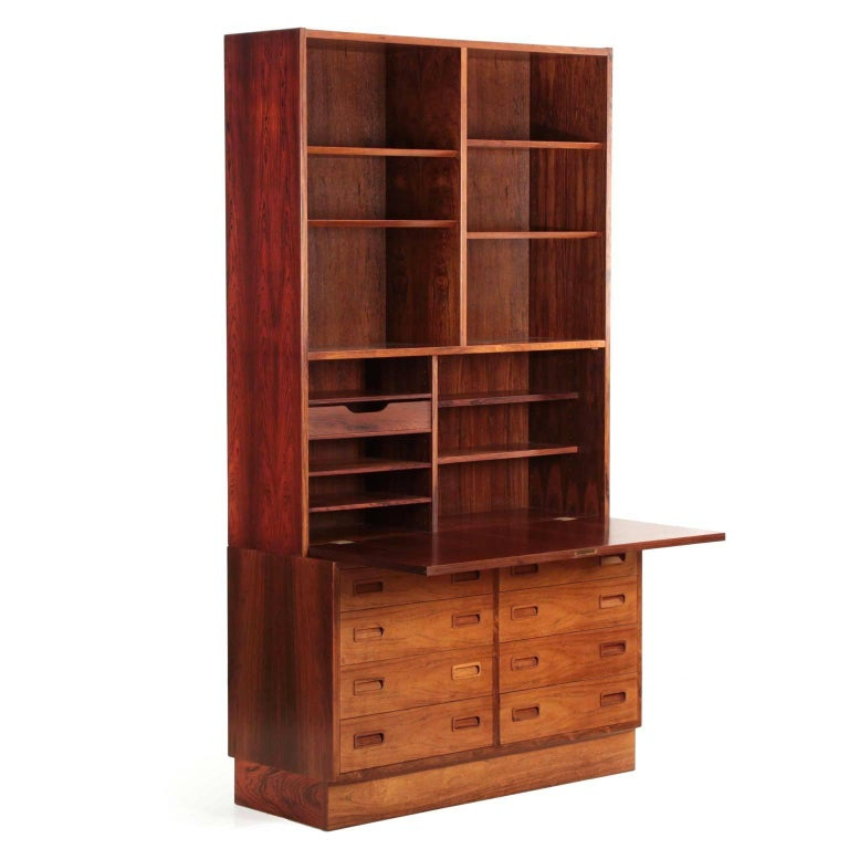 Danish Midcentury Rosewood Wall Unit Desk Over Dresser By