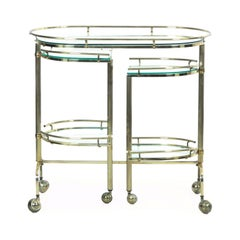 Vintage Brass and Glass Bar Drink Cart with Rotating Shelves