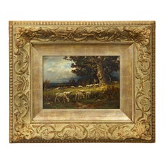 American Barbizon Antique Oil Painting of Sheep by Carleton Wiggins