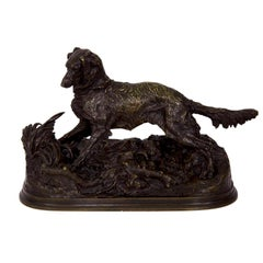 Antique French Bronze Sculpture of Irish Setter Dog by Pierre Jules Mene
