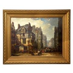 Antique Scottish Oil Painting of John Knox House, Scotland, circa 1840-1860