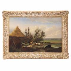 """Countryside Fowl"" Antique Oil Landscape Painting by Johan Leemputten circa 1868"