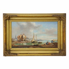 Antique 19th Century Landscape Oil Painting of a Seaside Fishing Village