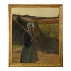 Walter Nettleton (American, 1861-1936) Antique Oil Painting of a Peasant Woman